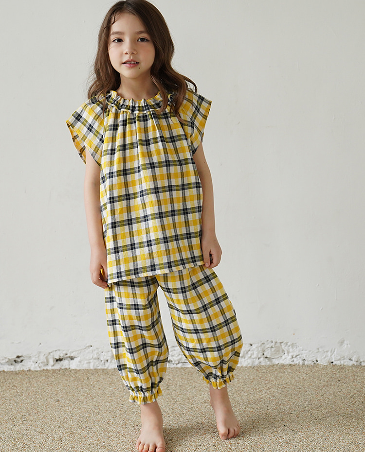 PLAID LINEN SARROUEL PANTS