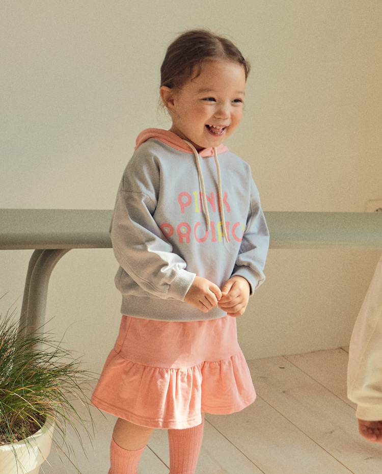 [PINK PACIFIC]Gray Pink Pacific Hoodie & Skirt Set