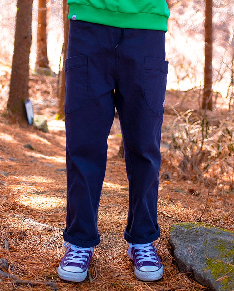 ROUND POCKET CHINO PANTS - NAVY